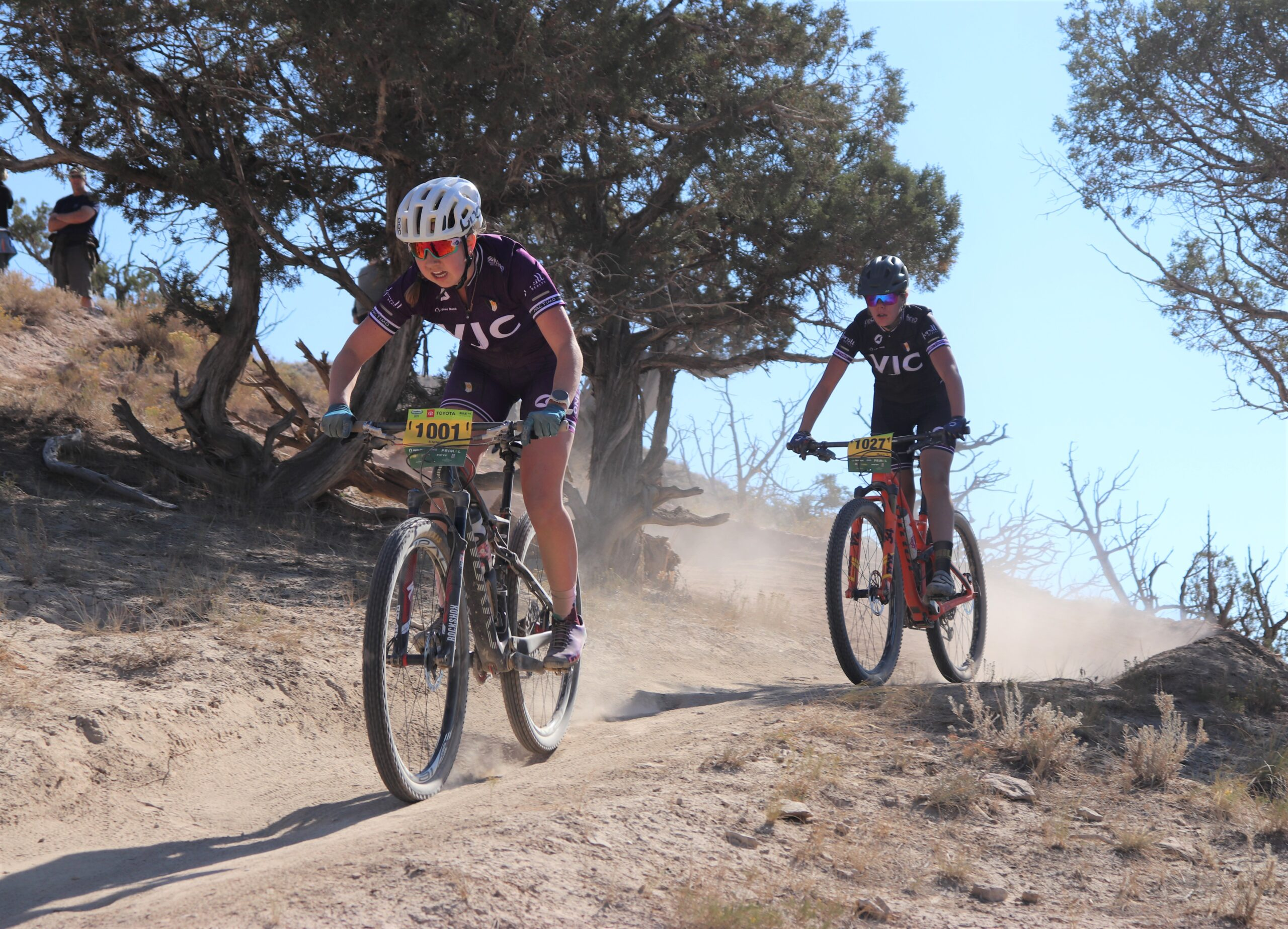 Ski & Snowboard Club Vail Junior Cycling Team riders at the September 25th Haymaker Classic in Eagle - Emma Barsness (in front) and Zosia Skiba (in rear).